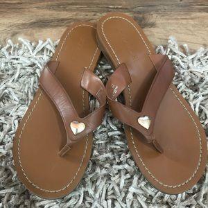 Coach Women's Ellis Leather Thong Sandal Slipper